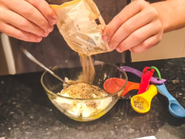 making tzatziki dip adding spices-eat2explore cooking kit reviews-mealfinds